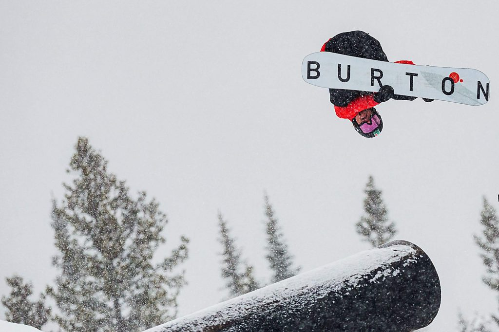 Red Gerard competes for Team Burton in the slopestyle snowboard team challenge on Thursday, on day one of Winter Dew Tour at Copper Mountain.