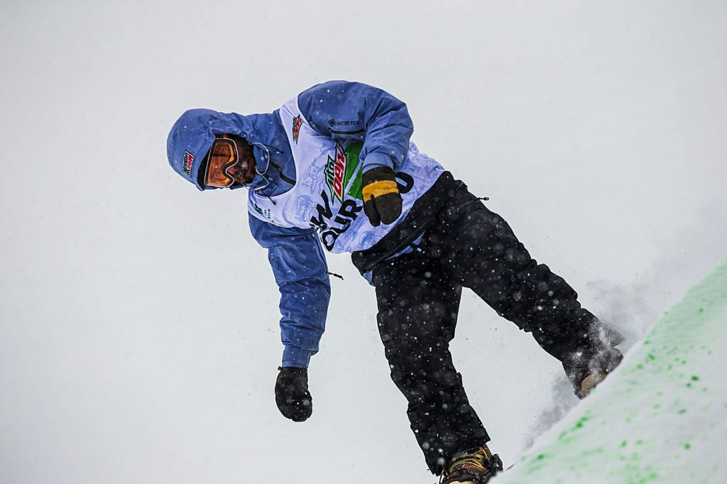 Danny Davis competes for Team Burton in the snowboard team challenge modified superpipe on Thursday on day one of Winter Dew Tour at Copper Mountain.