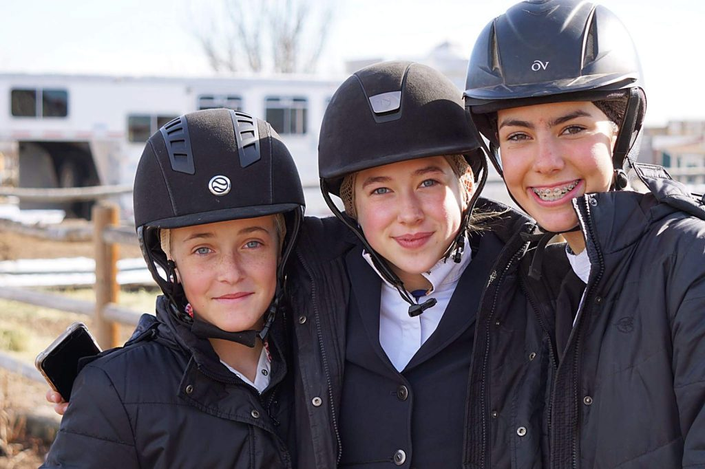 From left to right, Chamonix Johnson, Emilia Deyarmond and Maia Ettlinger of the Aspen Equestrian Team.