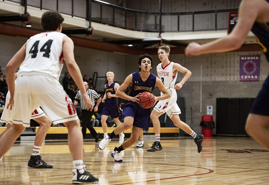 Basalt's Alonso Silva looks to pass the ball to a teammate during the game against Aspen on Thursday, Feb. 20, 2020. (Kelsey Brunner/The Aspen Times)