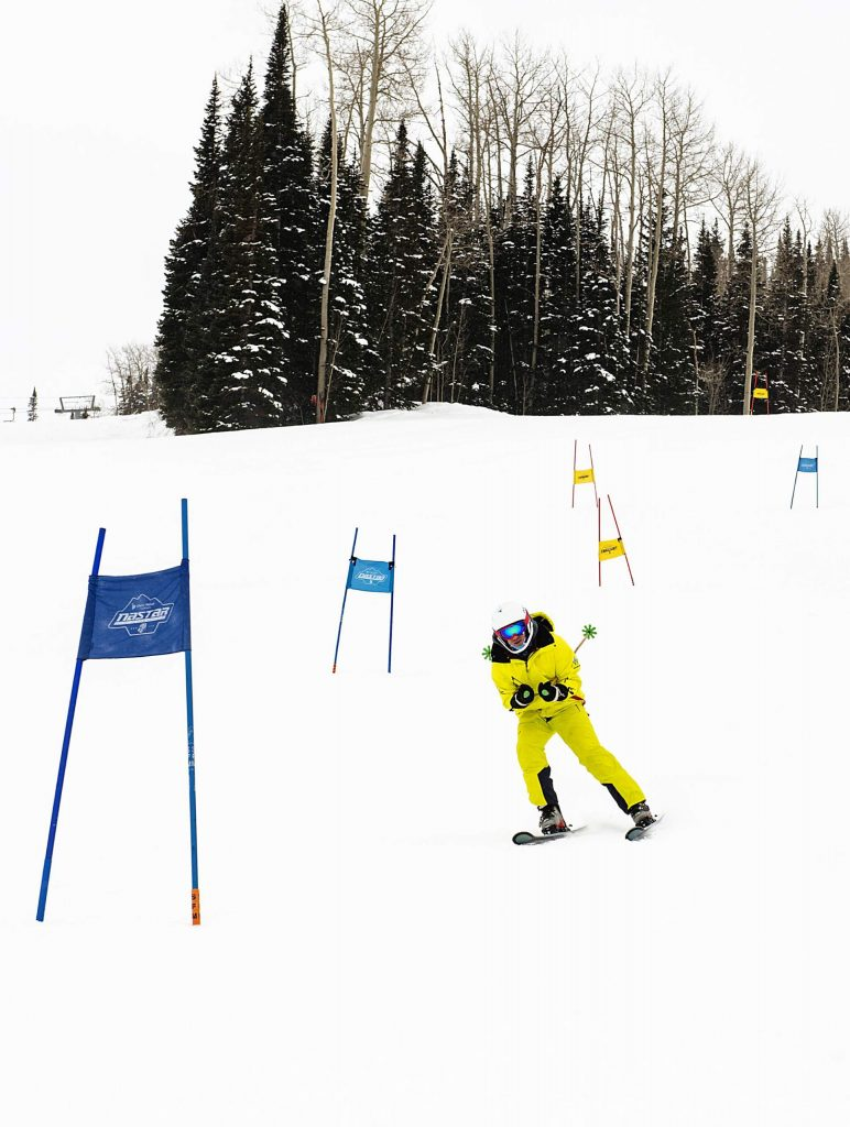Challenge Aspen's Chris Guay practices on the NASTAR slalom course at Snowmass on Thursday, Jan. 30, 2020. (Kelsey Brunner/The Aspen Times)