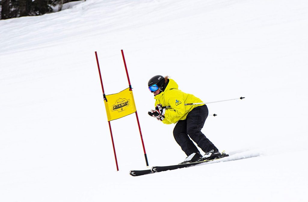 Challenge Aspen's Lauren Jackson practices on the NASTAR slalom ski course on Snowmass Mountain on Thursday, Jan. 30, 2020. (Kelsey Brunner/The Aspen Times)