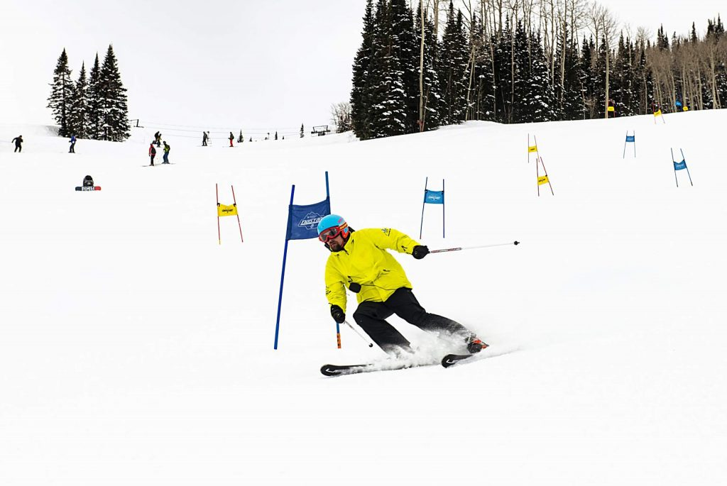 Challenge Aspen's Tanner Jadwin skis to the bottom of the NASTAR slalom course during practice at Snowmass on Thursday, Jan. 30, 2020. (Kelsey Brunner/The Aspen Times)
