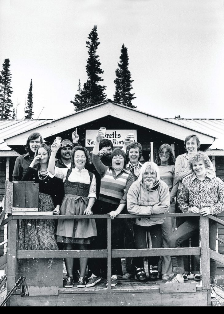 One b/w photograph of Gretl's Restaurant on Aspen Mountain, 1975-. Gretl Uhl and Barbara Guy are in the middle of the image.