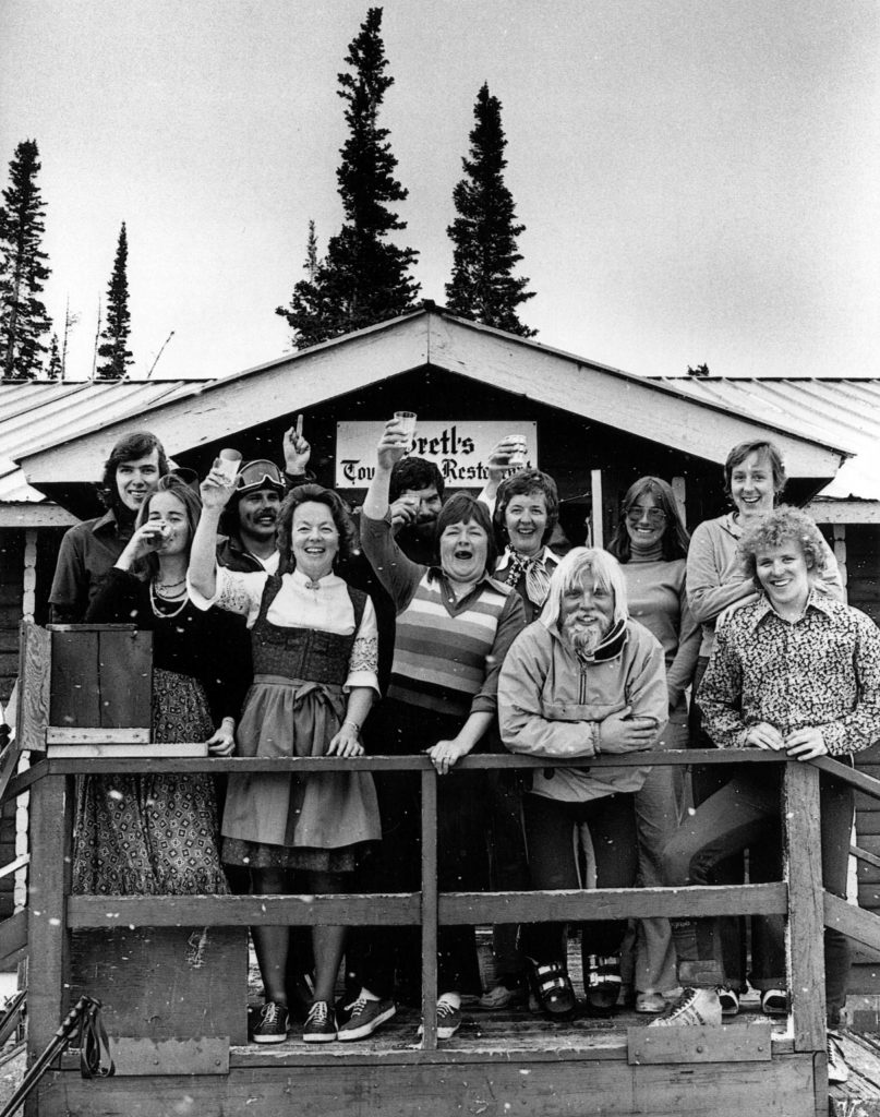 Gretl's Restaurant on Aspen Mountain, photographed in 1975. Gretl Uhl and Barbara Guy are in the middle of the image.