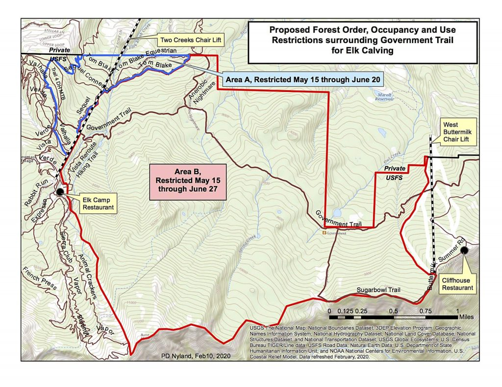 This map shows the area proposed for an extended closure through June 27. The area includes the popular Government Trail.