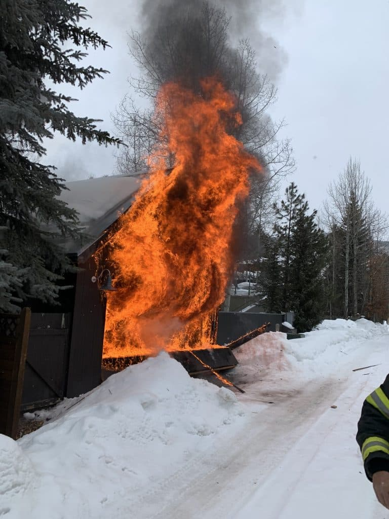 A photo of the West Aspen garage that caught fire Sunday morning. (Courtesy photo/Mike Lyons, firefighter with the Aspen Fire Department)