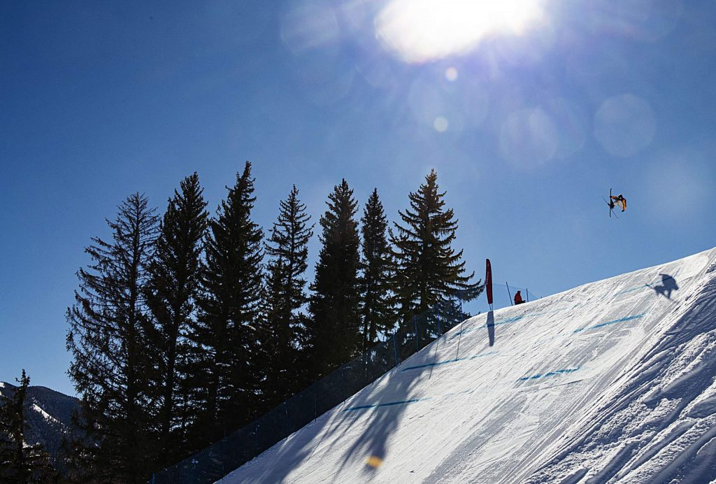 Skiers compete in the men's slopestyle finals during the Aspen Snowmass Freeskiing Open at Buttermilk on Friday, Feb. 14, 2020. (Kelsey Brunner/The Aspen Times)