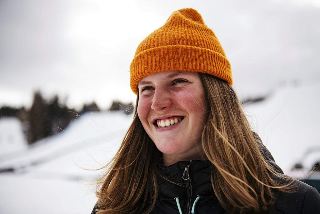 Hanna Faulhaber, 15, poses for a portrait at the base of the Aspen Snowmass Freeskiing Open course on Wednesday, Feb. 12, 2020. (Kelsey Brunner/The Aspen Times)