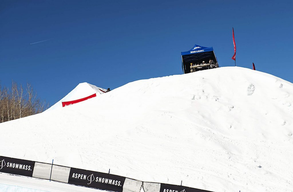 Judges for the Aspen Snowmass Freeskiing Open slopestyle final watch from the big air course at Buttermilk on Friday, Feb. 14, 2020. (Kelsey Brunner/The Aspen Times)
