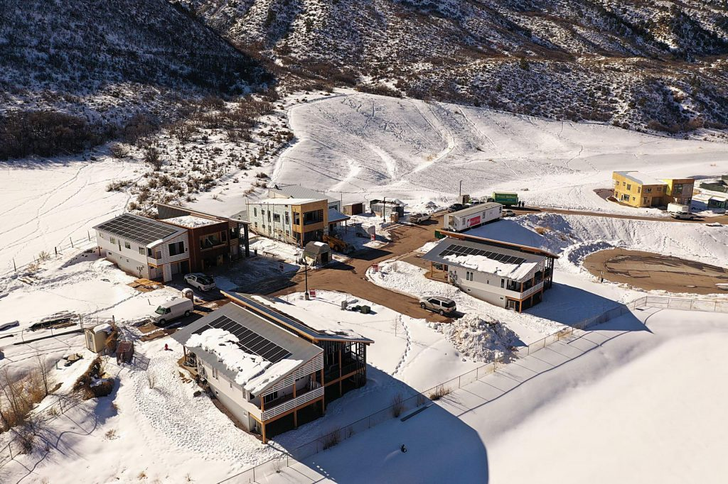 A recent shot from a drone shows the progress at the Basalt Vista net-zero housing project adjacent to Basalt High School. The project was a collaboration between multiple partners.