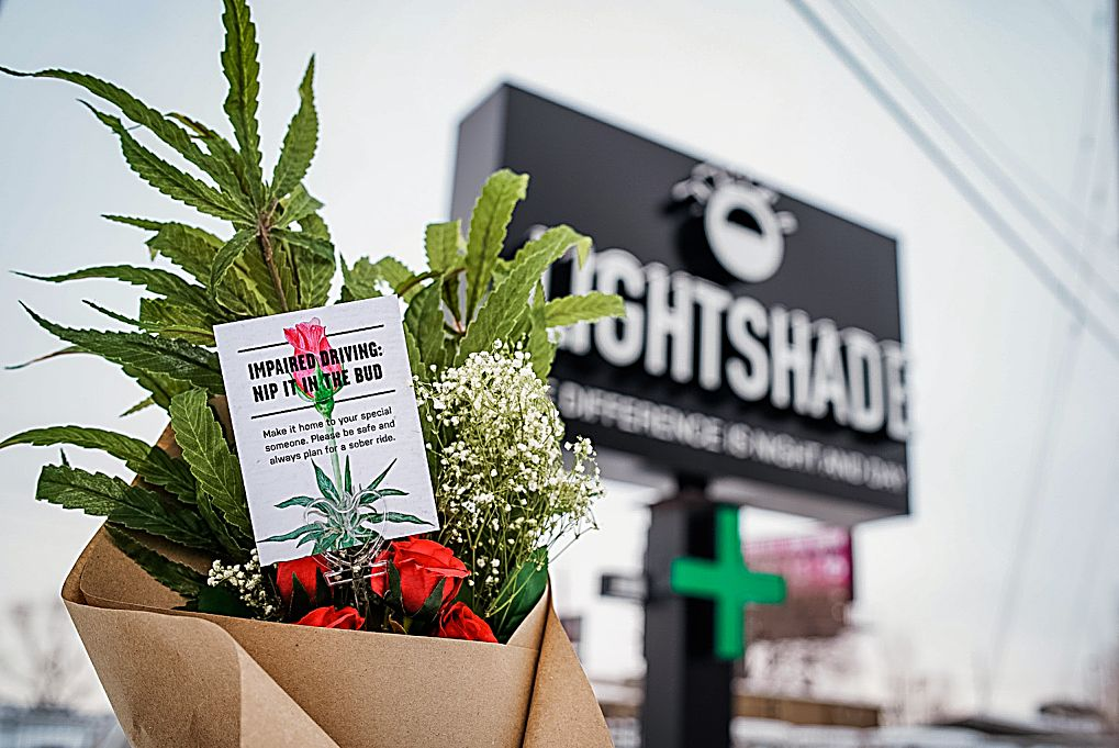 """CDOT's """"Nip It In The Bud"""" campaign distributed Valentine's Day bouquets at Lightshade dispensaries across metro Denver."""