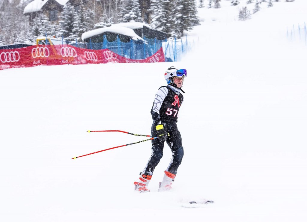 Aspen High School alpine team skier Jake Morgan skis to the bottom of the giant slalom course after finishing his first run Thursday, Feb. 6, 2020 at Aspen Highlands. (Kelsey Brunner/The Aspen Times)
