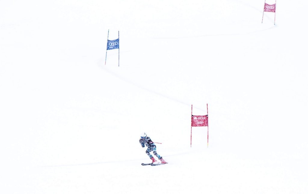 Jake Morgan of Aspen High School's alpine team competes in the first run of the giant slalom at Aspen Highlands on Thursday, Feb. 6, 2020. (Kelsey Brunner/The Aspen Times)