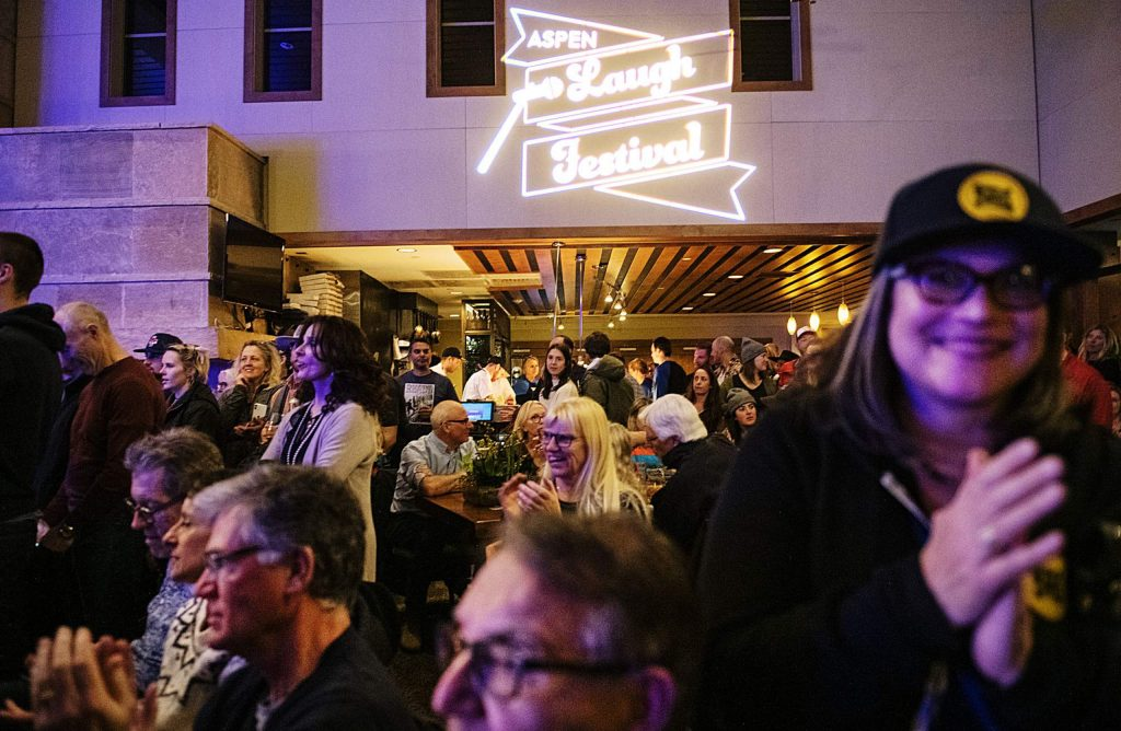 Attendees of the first night of the Aspen Laugh Festival applaud the comedians as they switch sets during at the Limelight Aspen on Tuesday.