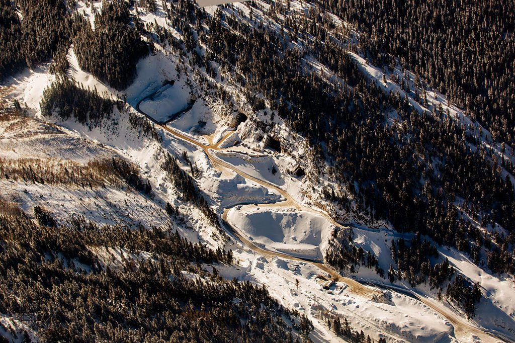 The Pride of America Mine, long known as the Yule Quarry, as seen from the air in January. The marble quarry's operators, Colorado Stone Quarries, are facing scrutiny related to a diesel spill and the temporary diversion of Yule Creek.