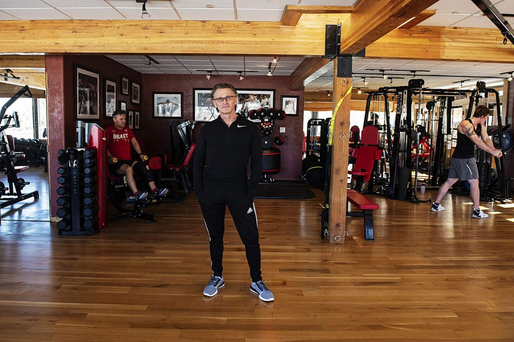Jean-Robert Barbette, center, poses for a portrait in the upper level of his gym in Aspen on Tuesday, Feb. 11, 2020. (Kelsey Brunner/The Aspen Times)