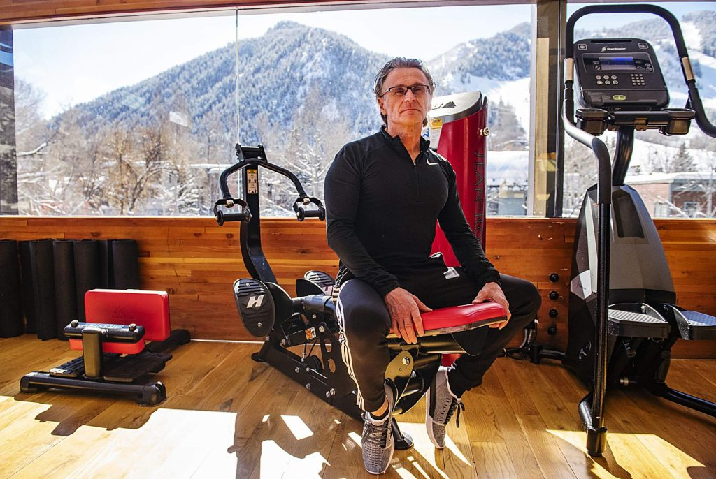Jean-Robert Barbette poses for a portrait in the upper level of his gym in Aspen on Tuesday, Feb. 11, 2020. (Kelsey Brunner/The Aspen Times)