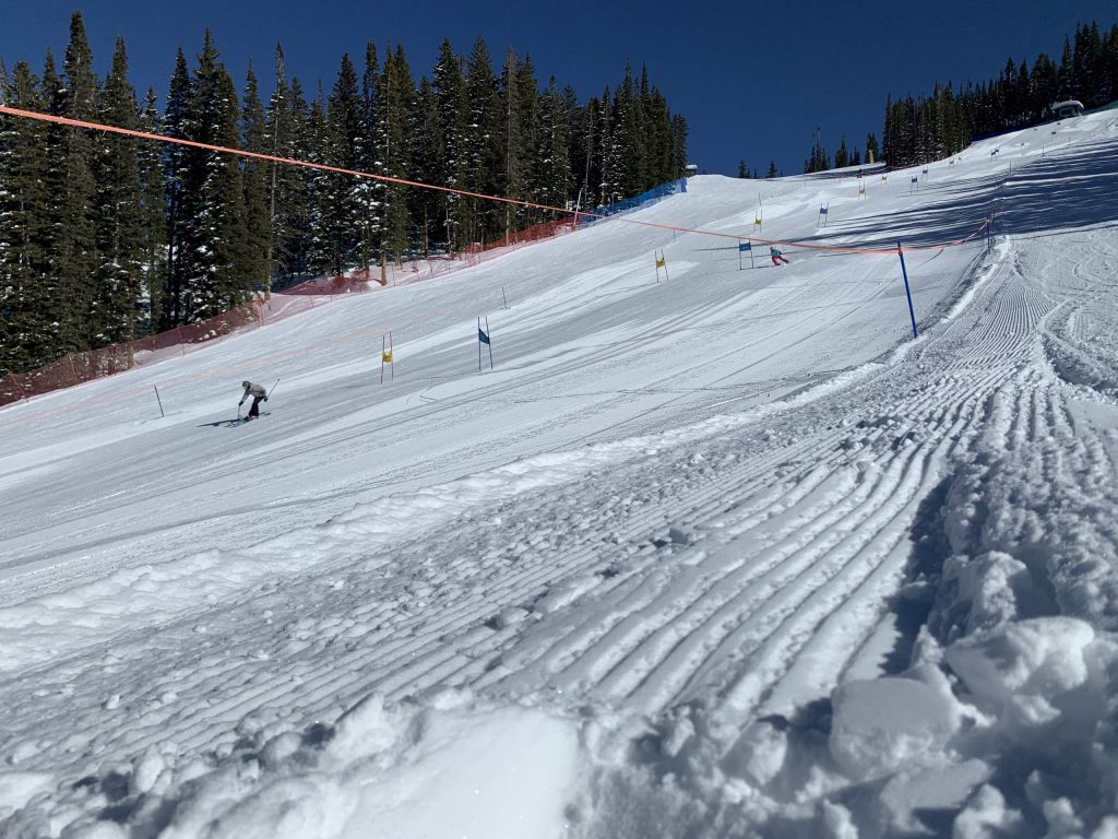 A skier comes down the NASTAR course on Thursday, Feb. 20, 2020, on Aspen Mountain. (Photo by Austin Colbert/The Aspen Times)