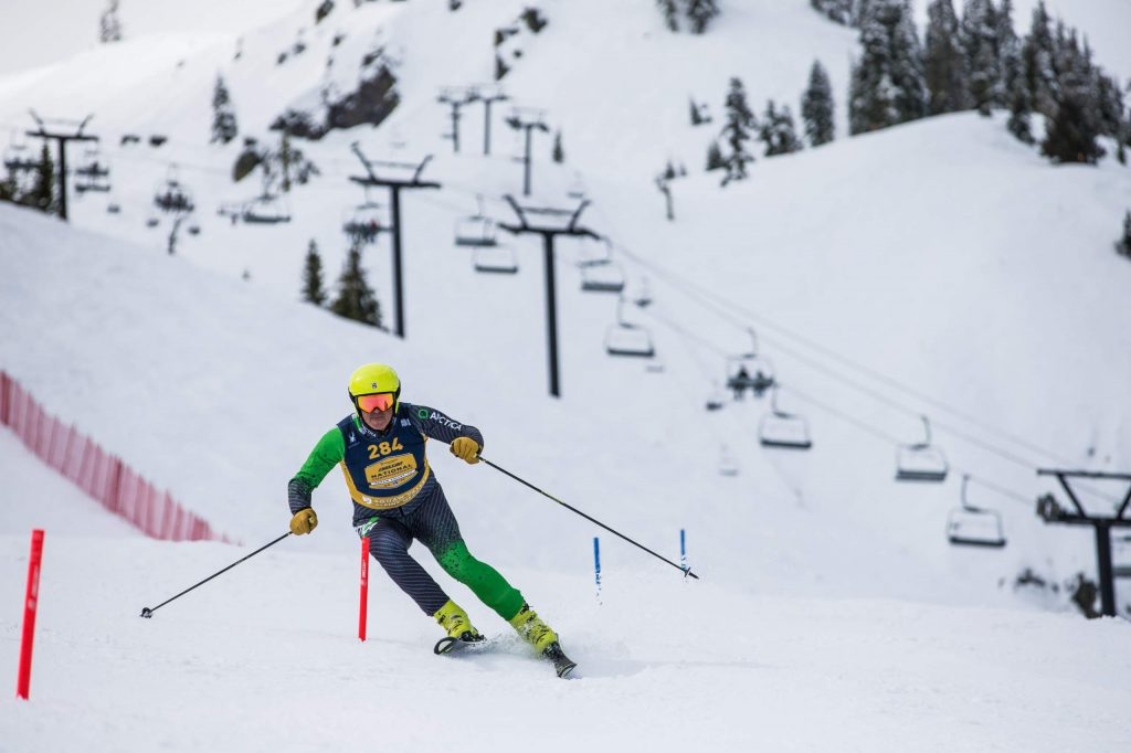 A skier competes in the 2019 Liberty Mutual NASTAR Nationals at Squaw Valley in California.