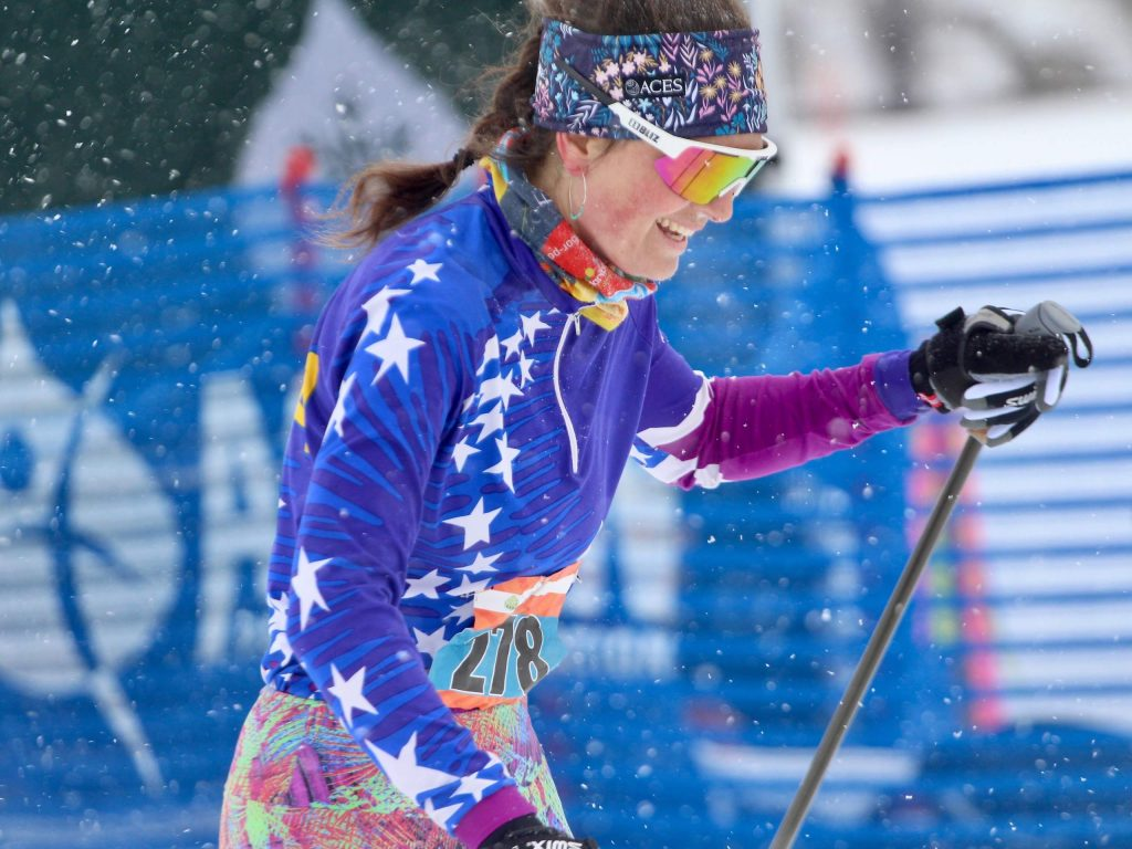 Aspen's Phebe Meyers laughs as she crosses the finish line of the Owl Creek Chase cross-country ski race on Sunday, Feb. 9, 2020, near the Aspen Valley Ski and Snowboard Club. Meyers was the third overall female in the 21k skate race, won by Madison Keetle.