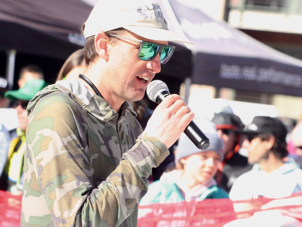 Aspen Skiing Co.'s Tyler Lindsay announces the winners of the 10th annual Audi Power of Four ski mountaineering race on Saturday, Feb. 29, 2020, in Aspen. (Photo by Austin Colbert/The Aspen Times)