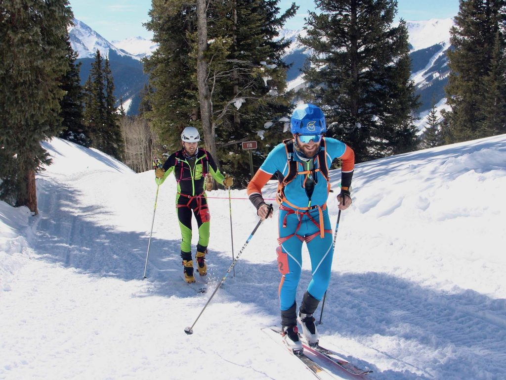 Kevin Merenda and Brian Charland make their way up the backside of Aspen Mountain during the 10th annual Audi Power of Four ski mountaineering race on Saturday, Feb. 29, 2020, in Aspen. They finished ninth in the men's race. (Photo by Austin Colbert/The Aspen Times)
