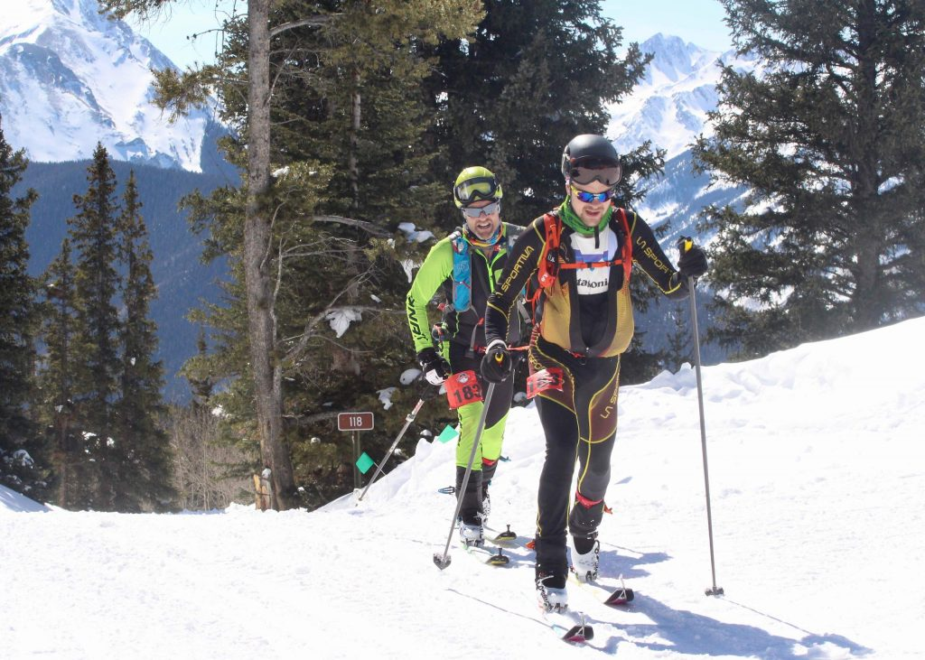 Matt Desmond and Galen Hecht compete in the Audi Power of Four ski mountaineering race on Saturday, Feb. 29, 2020, in Aspen. (Photo by Austin Colbert/The Aspen Times)