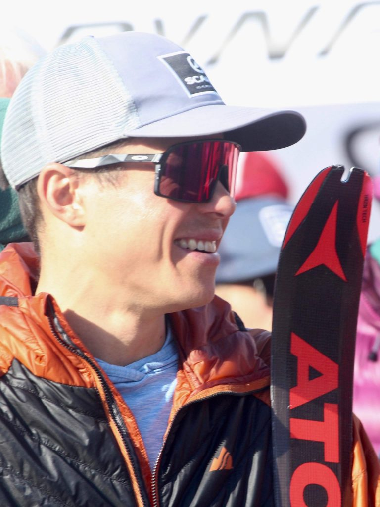 Aspen's Max Taam awaits the awards presentation following the 10th annual Audi Power of Four ski mountaineering race on Saturday, Feb. 29, 2020, in Aspen. (Photo by Austin Colbert/The Aspen Times)
