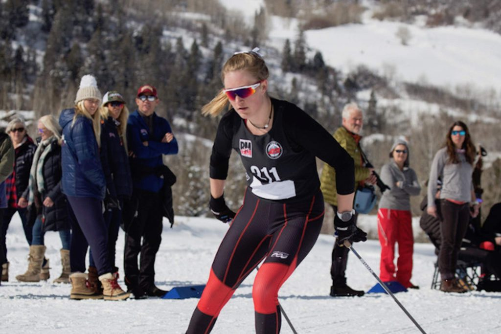 Kate Oldham competes in Saturday's nordic races hosted by Aspen High School. Photographed by Matt Dubé.