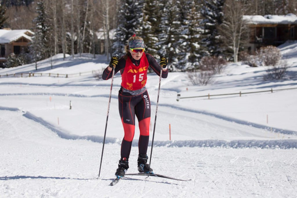 Aspen's Eva McDonough competes in Saturday's nordic races hosted by Aspen High School. Photographed by Matt Dubé.