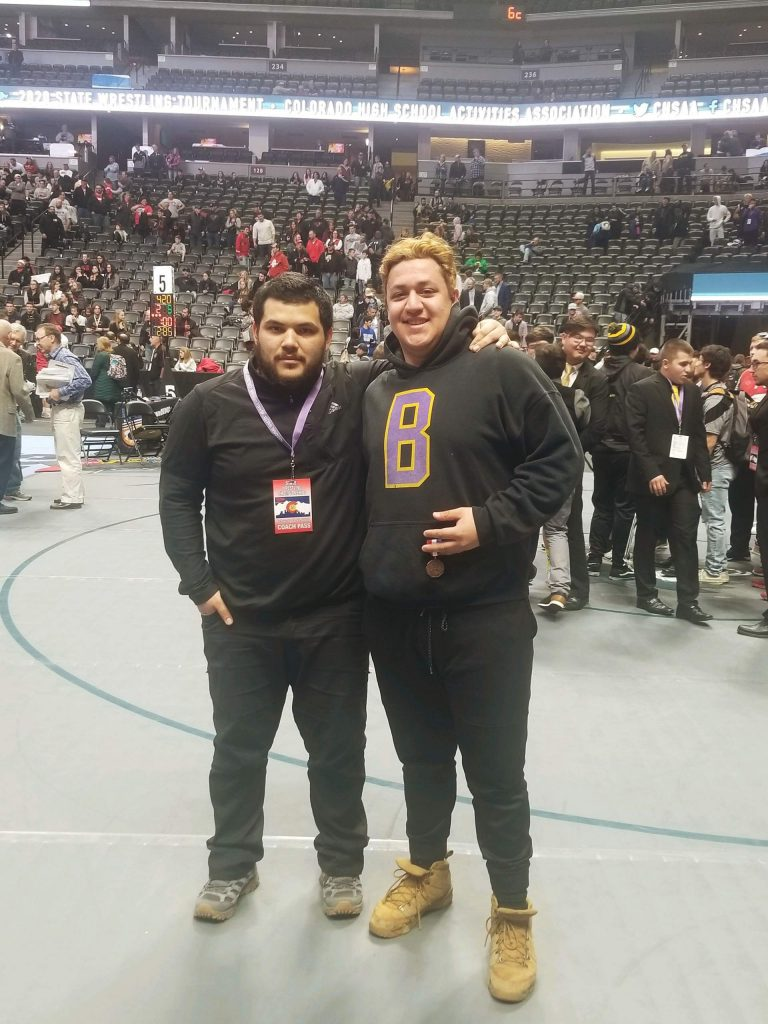 Basalt High School assistant wrestling coach Olmer Marquez, left, who was fourth in state at 220 pounds in 2014, stands with BHS senior Ernesto Lopez, who finished fourth in state in the 3A heavyweight division this past weekend.