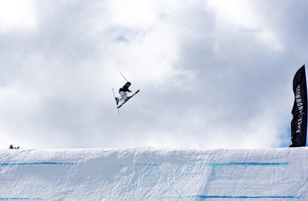 A skier practices on the slopestyle course for the Aspen Snowmass Freeskiing Open at Buttermilk on Wednesday, Feb. 12, 2020. (Kelsey Brunner/The Aspen Times)