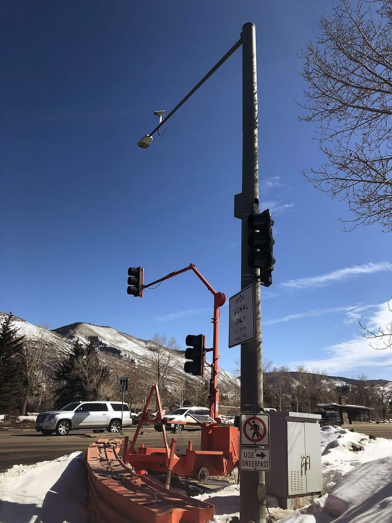 The temporary stoplight on Highway 82 at the Aspen airport intersection will be in place for at least a few months after the main pole was damaged Feb. 5.
