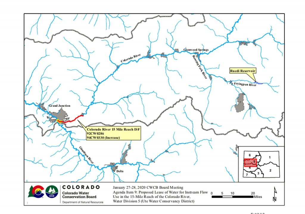 This map shows the 15-mile reach of the Colorado River near Grand Junction, home to four species of endangered fish. Water from Ruedi Reservoir flows down the Fryingpan River and into the Roaring Fork, which flows into the Colorado River in Glenwood Springs.