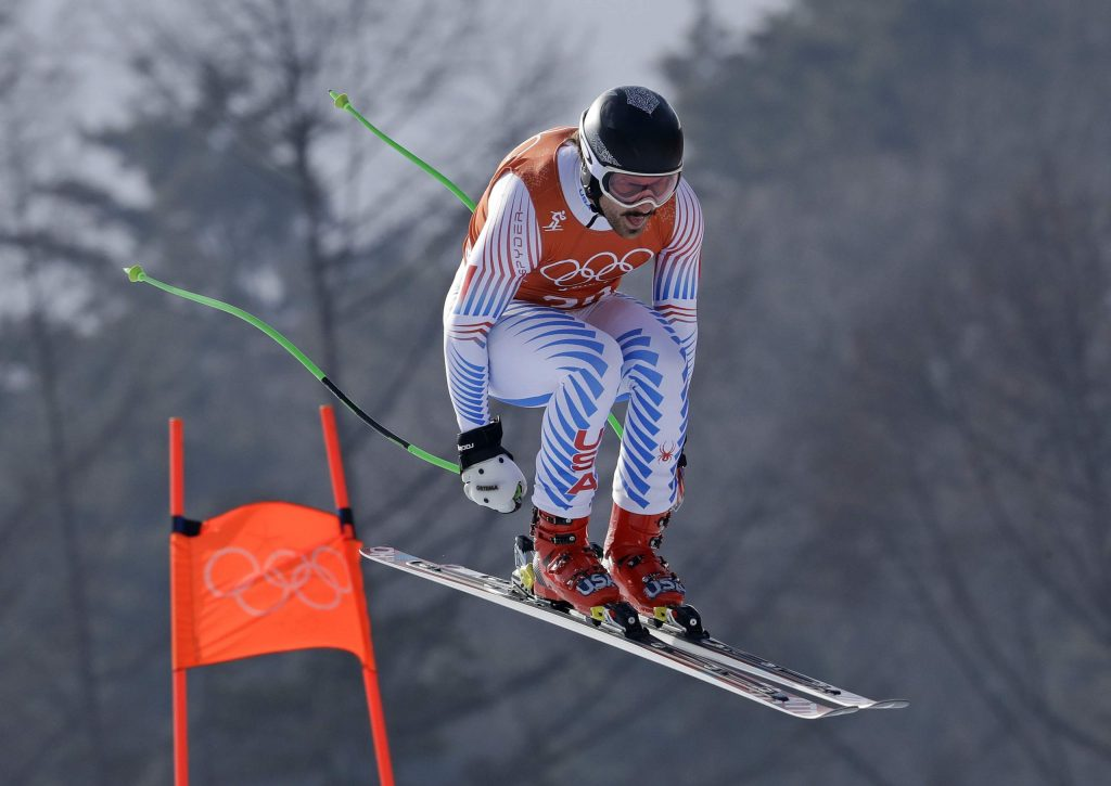 Aspen's Wiley Maple competes in men's downhill training at the 2018 Winter Olympics in Jeongseon, South Korea, Friday, Feb. 9, 2018. (AP Photo/Luca Bruno)