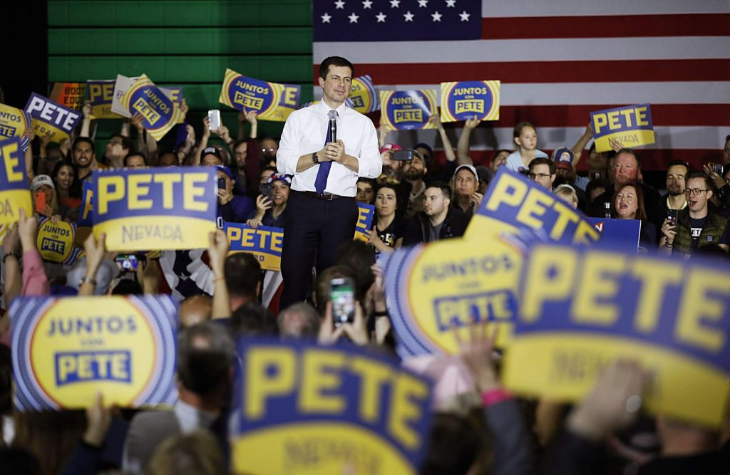 Democratic presidential candidate former South Bend Mayor Pete Buttigieg speaks during a rally Sunday, Feb. 16, 2020, in Las Vegas. (AP Photo/John Locher)