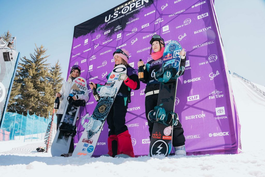 Tahoe's Jamie Anderson topped the women's slopestyle podium at the Burton US Open on Friday, Feb. 28, 2020, in Vail.