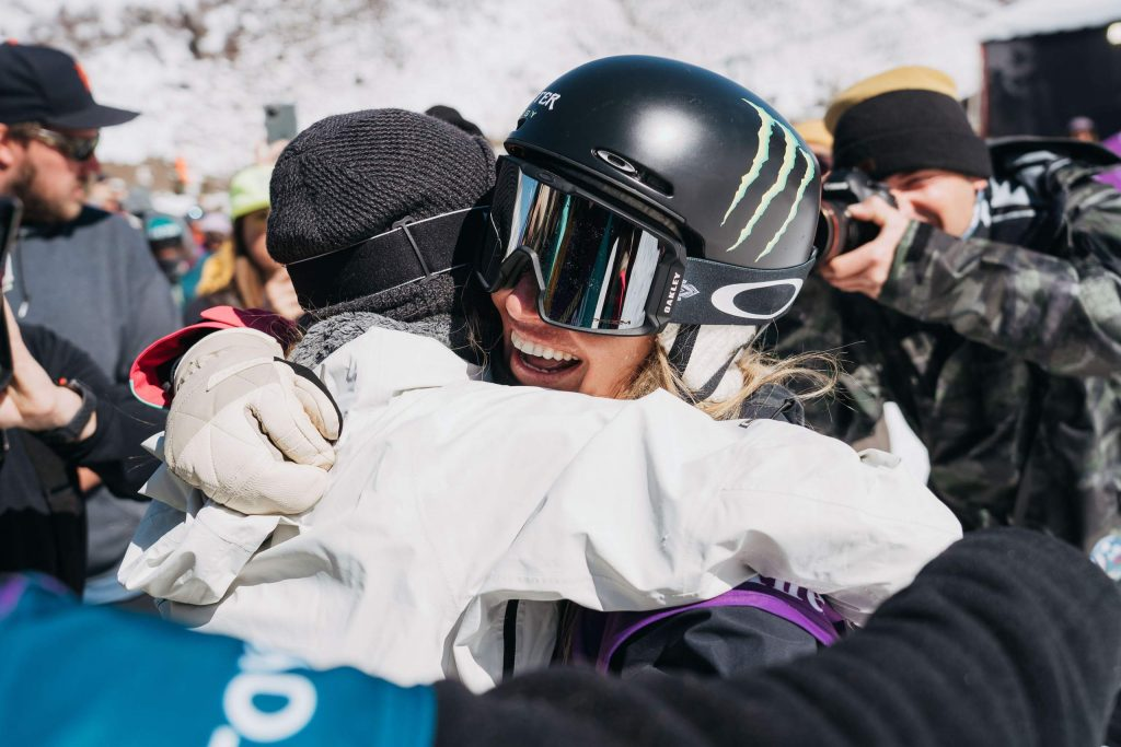 Tahoe's Jamie Anderson gets a hug during the women's slopestyle final of the Burton US Open on Friday, Feb. 28, 2020, in Vail.