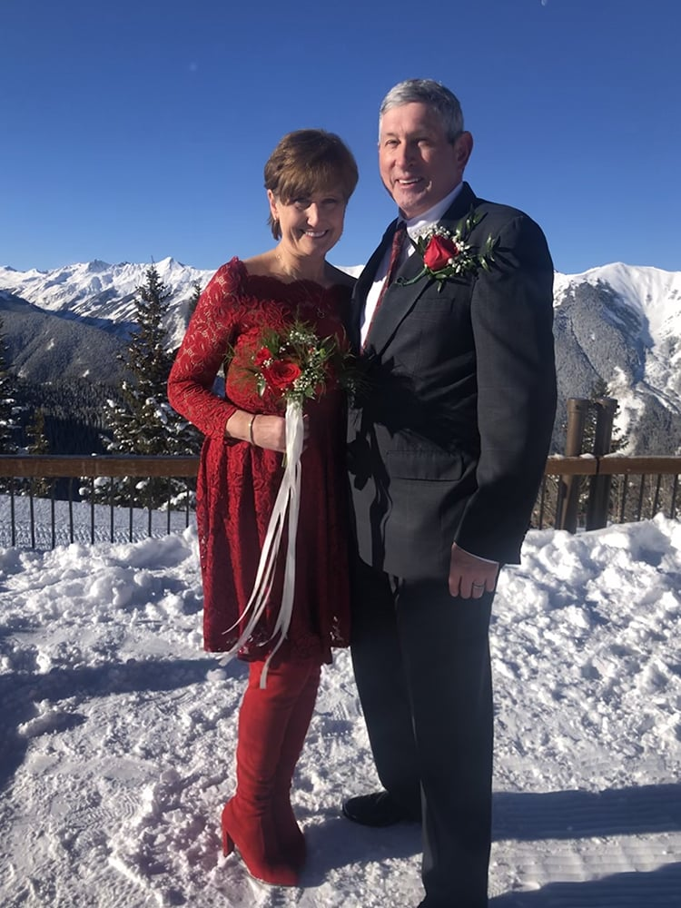 Married on Valentine's Day! Faye and Bruce Bennett of Seattle, Wa., tied the knot in the Silver Queen Gondola on Feb. 14, 2020, followed by a skiing-filled day at Snowmass with friends.