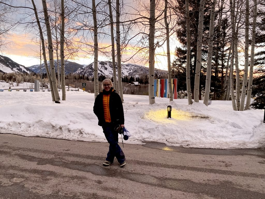 Going for an evening walk in this ever-changing spring light is a way to feel upbeat. Emily Little sets out for a stroll at the Aspen Meadows recently.