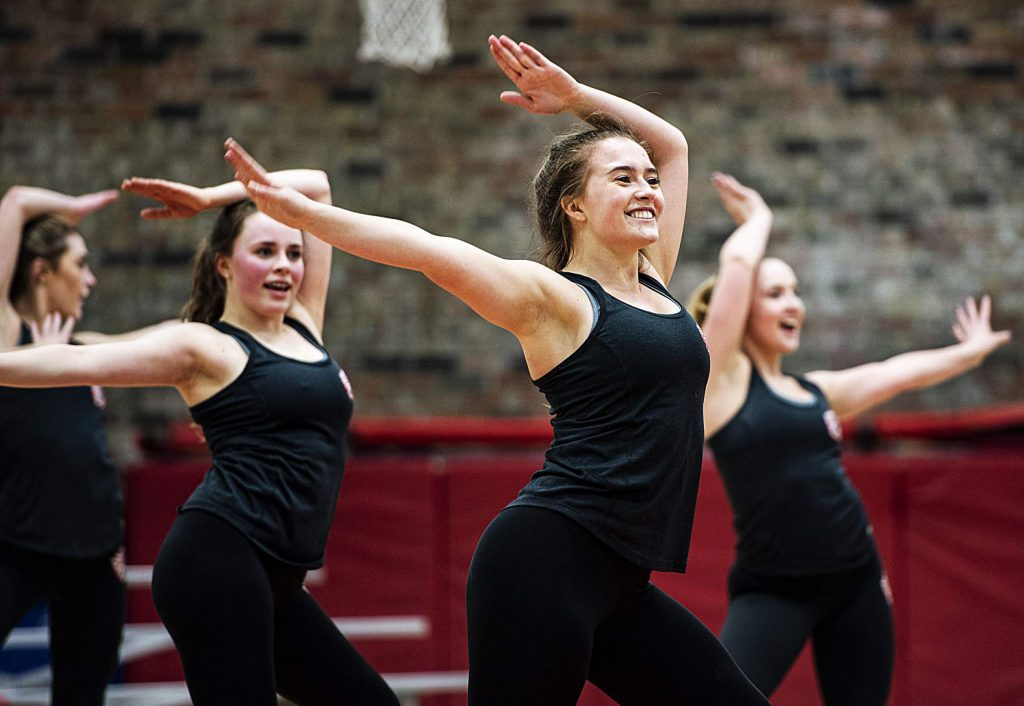The Aspen High School spirit and dance team runs through their jazz dance during their sendoff event on Tuesday, March 3, 2020. The team was able to learn the jazz dance in about three weeks, which is unusual when competing at a high level.