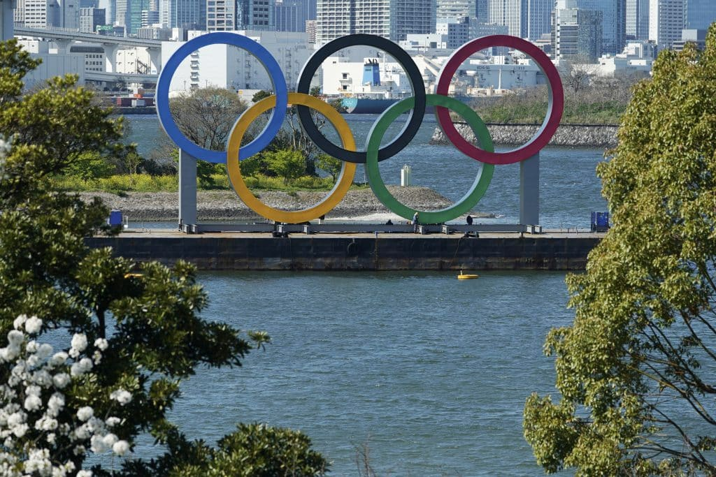 The Olympic rings is seen at Tokyo's Odaiba district Tuesday, March 24, 2020.