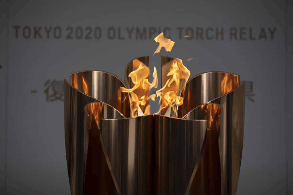 The Olympic Flame burns during a ceremony in Fukushima City, Japan, Tuesday, March 24, 2020.