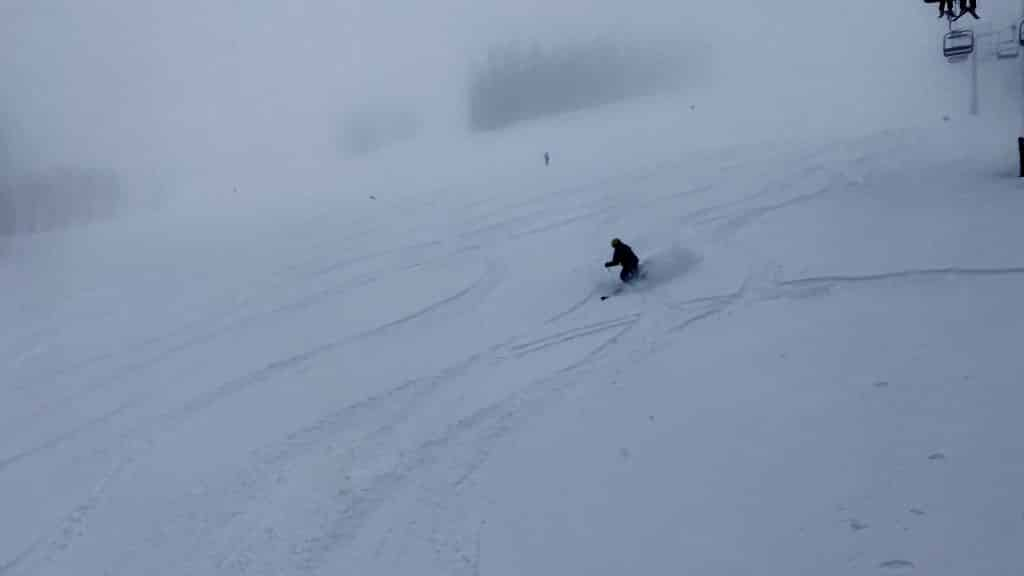 Skiers make their way about 6 inches of powder on the Ruthie's run Monday morning at Aspen Mountain.