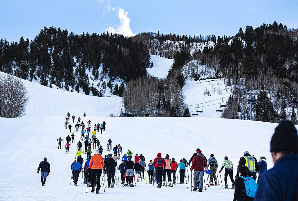 People make their way up Little Nell at the start of America's Uphill race on Aspen Mountain on Saturday, March 7, 2020.