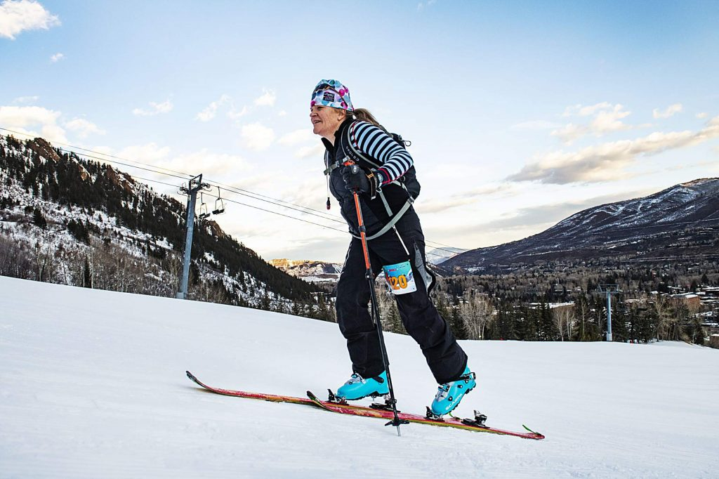 An America's Uphill racer skins up Aspen Mountain on Saturday, March 7, 2020.
