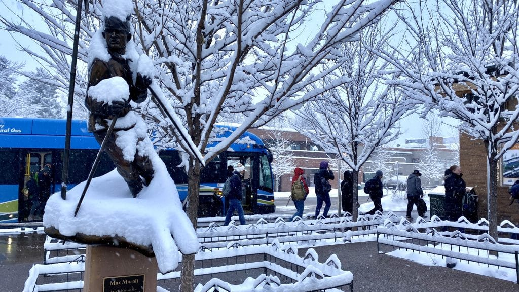 RFTA commuters get off at Rubey Park on a snowy Monday morning after an overnight storm rolled through the mountains and up to 6 inches of snow at the area resorts.