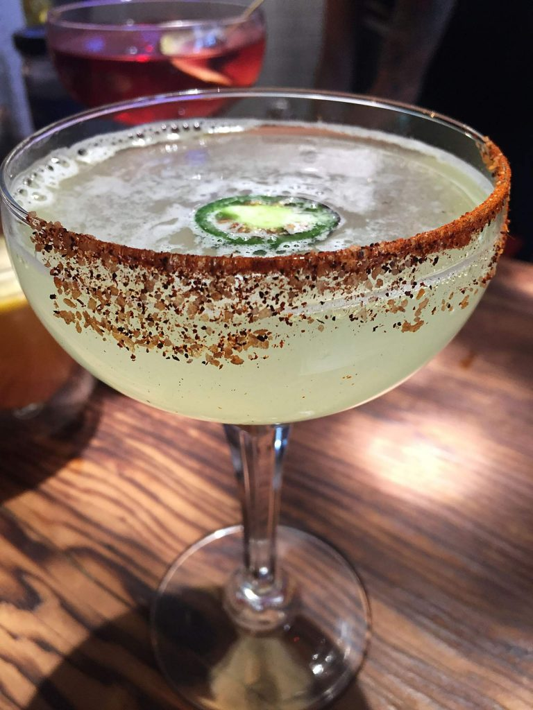 The jalapeno margarita at Meat & Cheese.