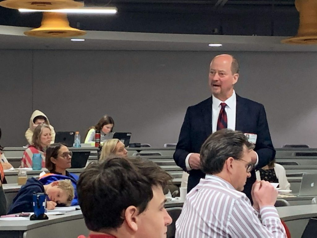 Dan Baugh, superintendent of the Centennial School District in the greater Philadelphia area, speaks to those gathered Tuesday at Aspen High School's seminar room. Baugh is one of four finalists for the Aspen School District's superintendent opening.
